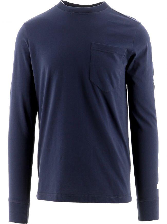 Navy Long Sleeve Print T-Shirt