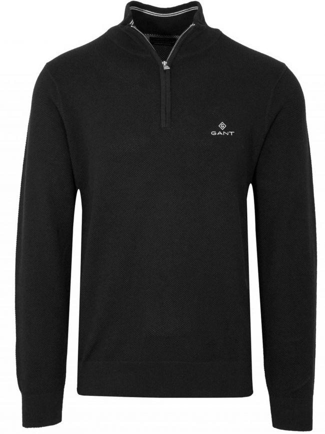 Half Zip Black Pique Sweatshirt
