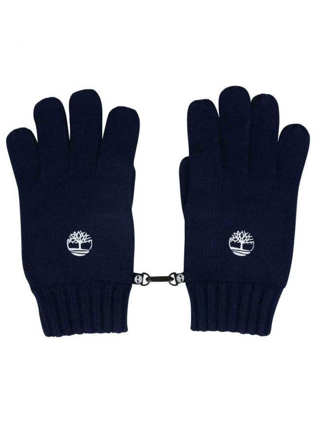 Navy Blue Ribbed Gloves