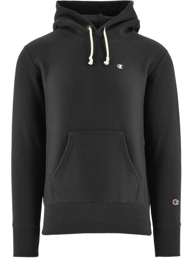 Black Reverse Weave Hooded Sweatshirt