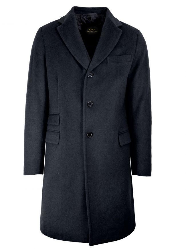 Navy Blue Wool-Blend Coat