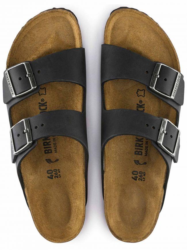 Black Arizona Solid Footbed Leather Sandal
