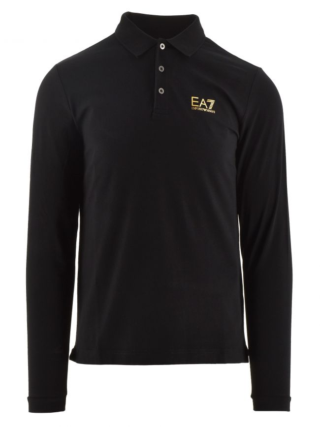 Black and Gold Long Sleeve Cotton Polo Shirt