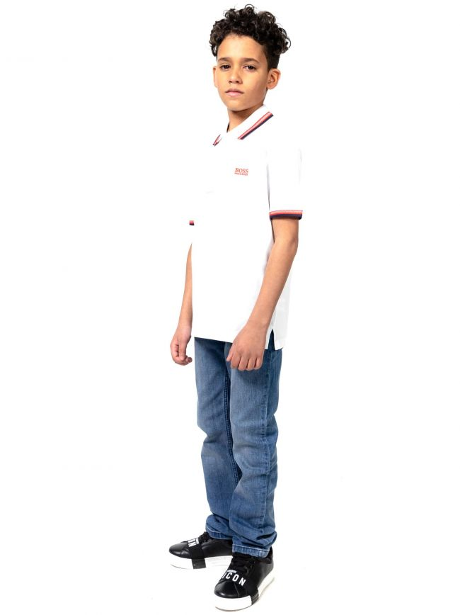 BOSS Kids White Short Sleeve Polo Shirt