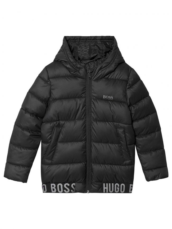 Black Hooded Bubble Water Repellant Jacket