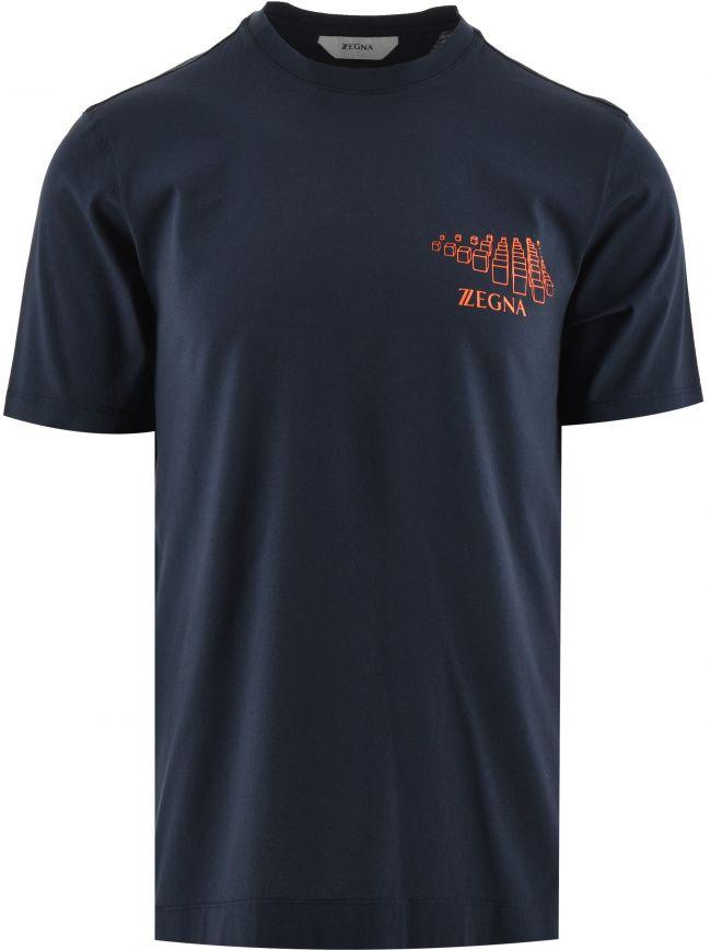 Navy Milan Print Logo T Shirt