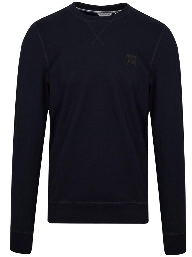 Navy Blue Plaque Logo Crew Neck Sweatshirt