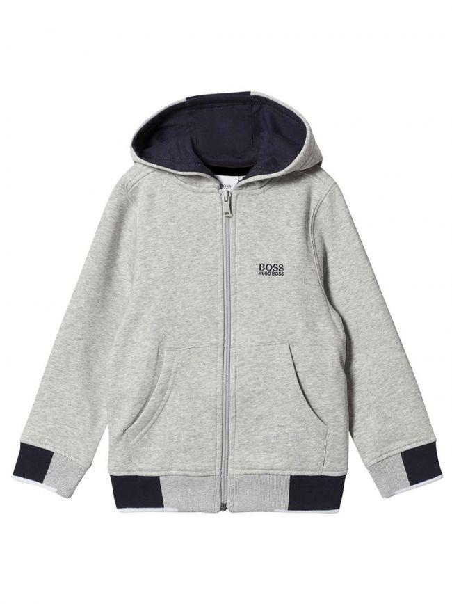 BOSS Kids Grey & Navy Cotton Hooded Sweatshirt