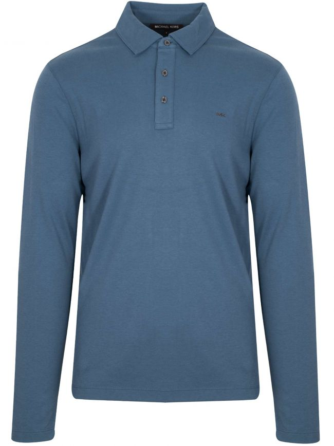 Dark Chambray Long-Sleeve Polo Shirt