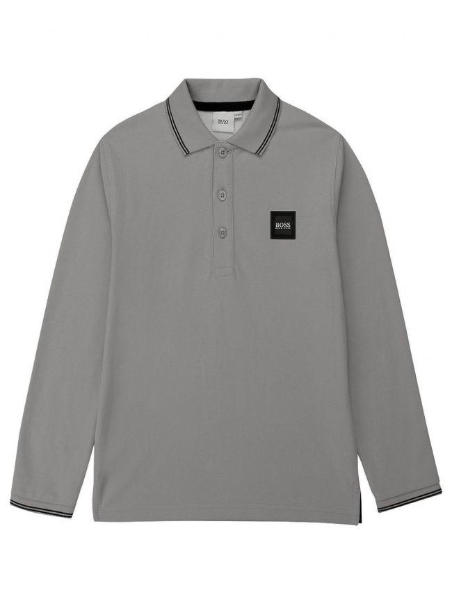 BOSS Kids Grey Long Sleeve Pique Polo Shirt