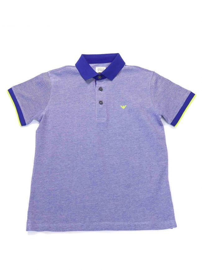 Armani Kids Contrast Blue Polo Shirt