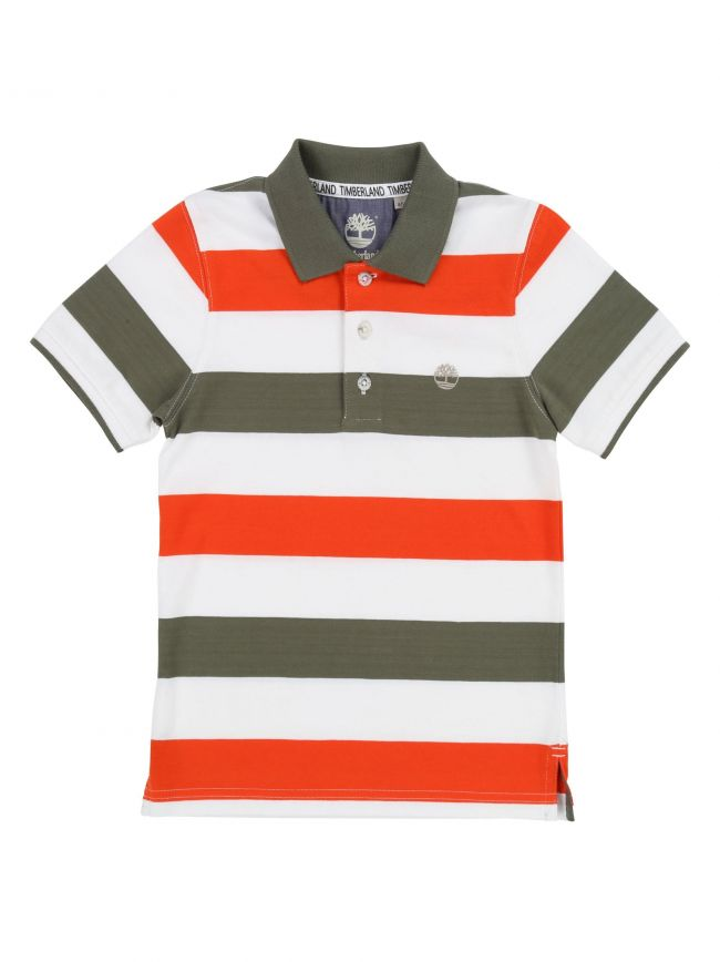 Orange Block Short-Sleeved Polo Shirt