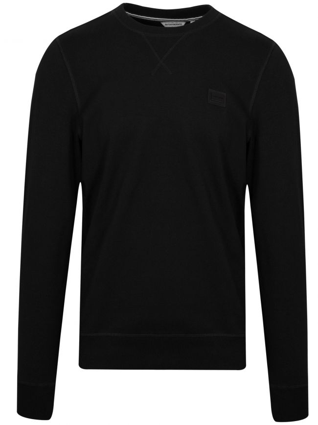 Black Plaque Logo Crew Neck Sweatshirt