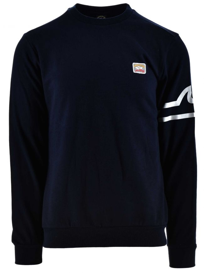 Navy Reflective Patch Logo Sweatshirt