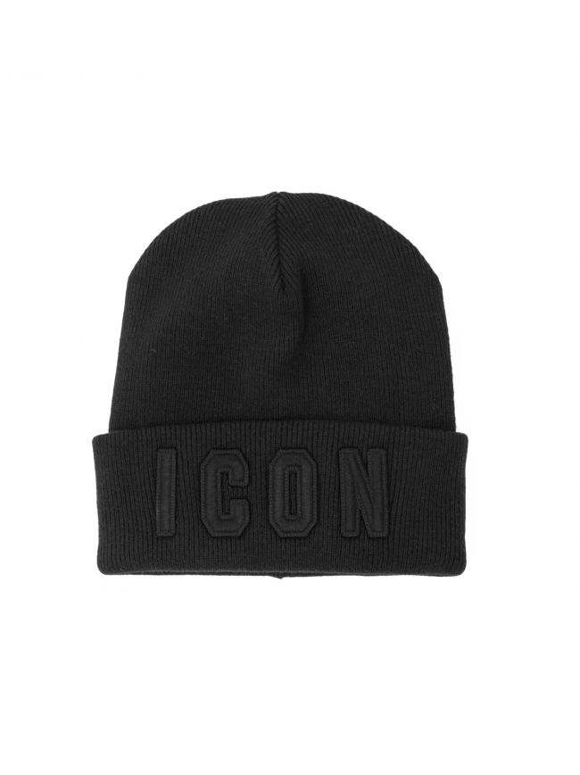 Black Embroidered ICON Logo Beanie