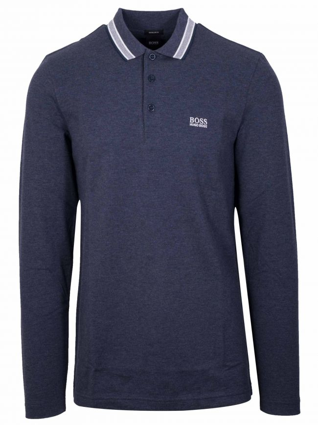 Dark Blue Melange Long Sleeve Plisy Polo Shirt