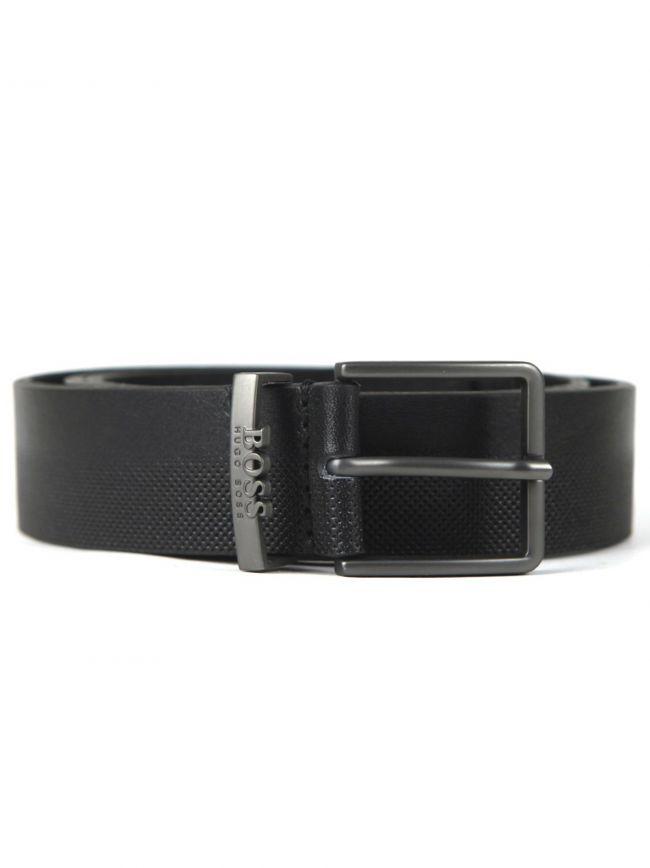 Black Detailed 3D Logo Belt