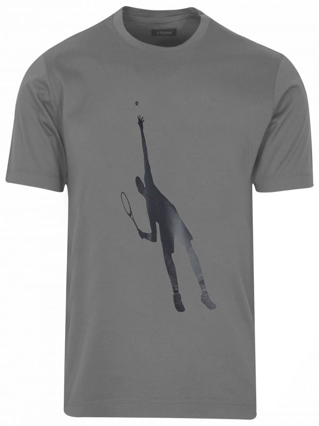 Grey Tennis Logo T-Shirt