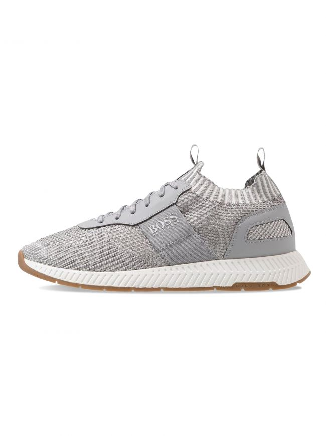 Pastel Grey Titanium Runn Scafe Knitted Trainer