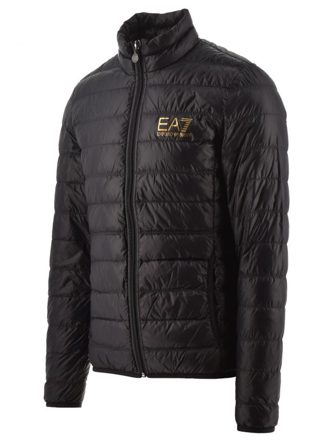 Black and Gold Down Filled Lightweight Slim Fit Jacket