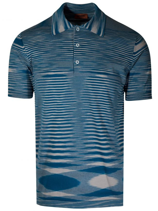 Blue Striped Knitted Polo Shirt