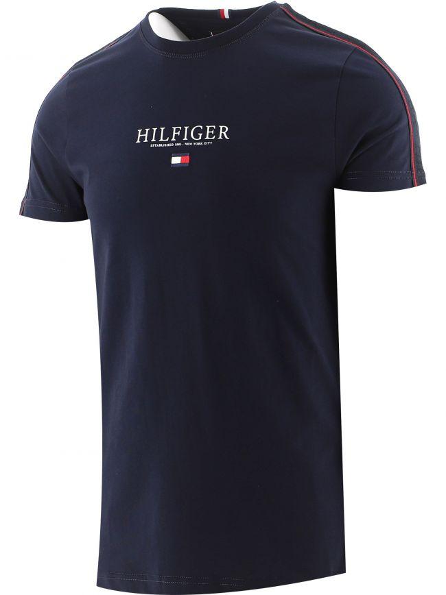 Navy Contrast Tape Logo T-Shirt
