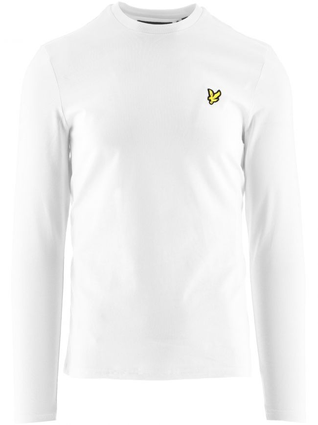 White Long Sleeved Crew Neck T Shirt