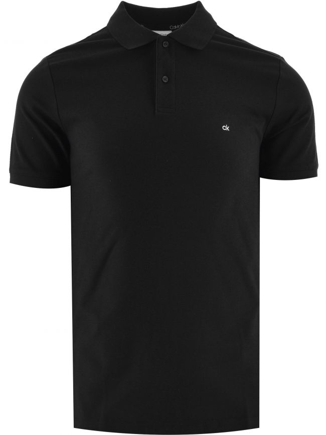 Black Logo Slim Fit Refined Pique Polo Shirt