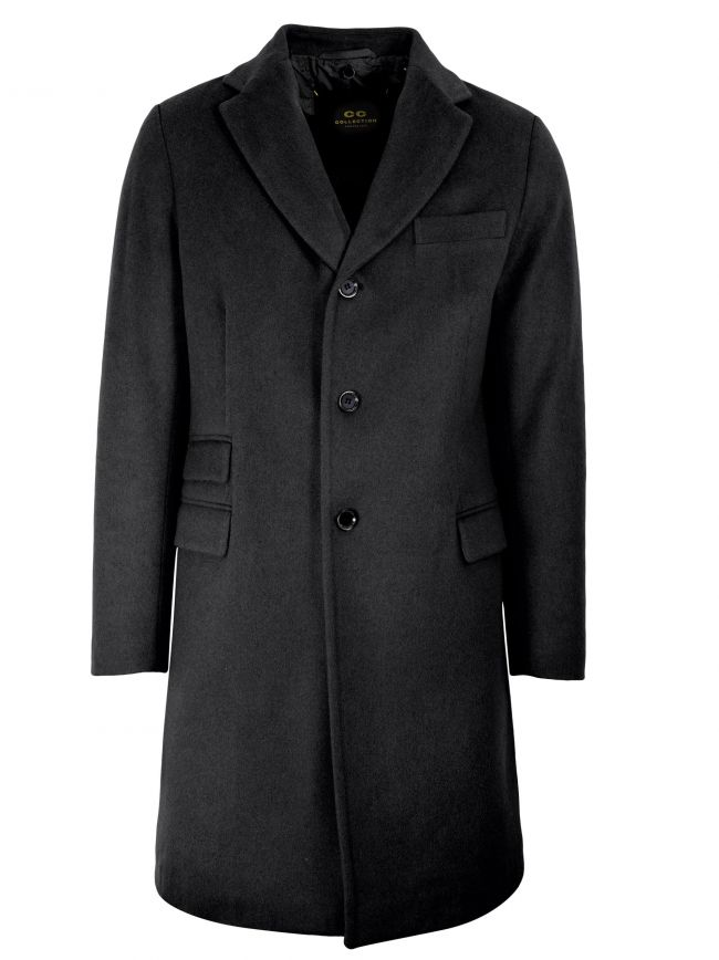Charcoal Grey Wool-Blend Coat