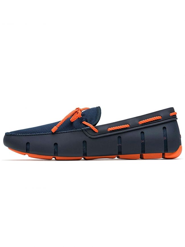 Navy & Orange Braided Lace Loafer