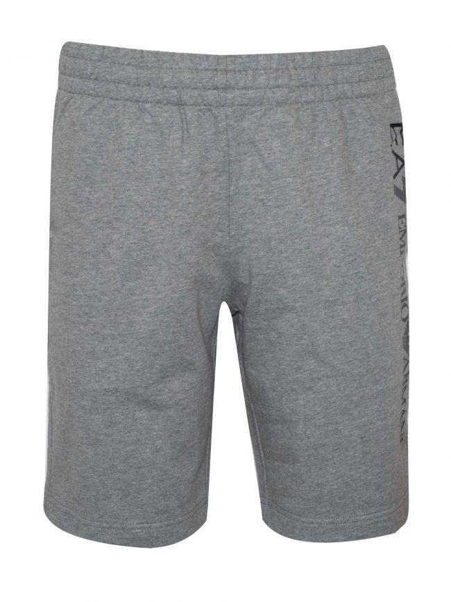 Grey Melange Logo Cotton Shorts