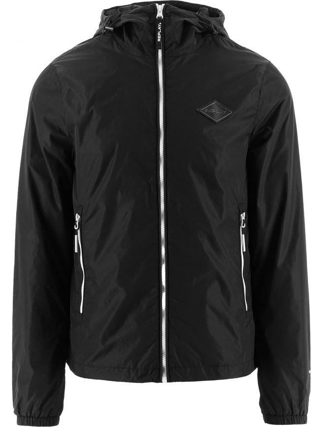 Black Recycled Nylon Hooded Jacket Jacket