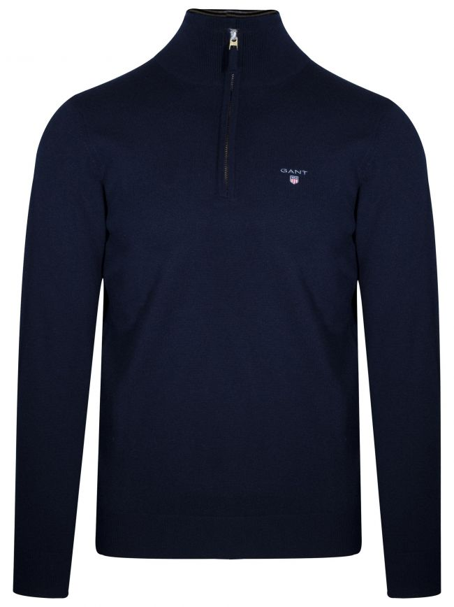 Super Fine Lambswool Half-Zip Navy Sweatshirt