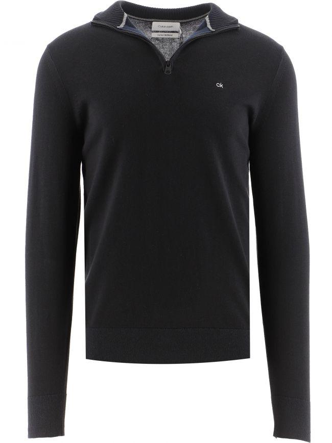 Black Organic Cotton Silk Quarter Zip Sweatshirt