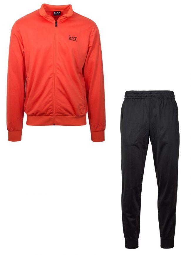 Orange & Black Polyester Tracksuit
