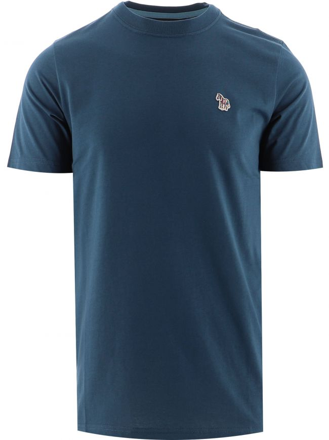 Blue Regular Fit Zebra Badge T-Shirt