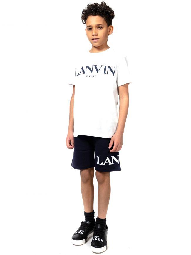 Lanvin Kids White Logo Cotton T-Shirt