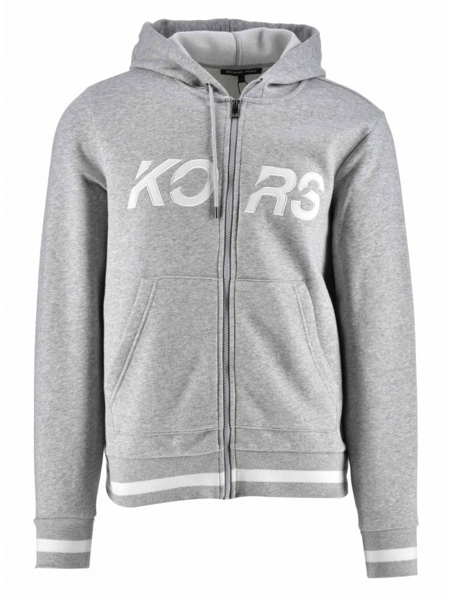 Grey Zipped Logo Hooded Sweatshirt