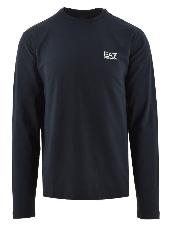 Navy Long Sleeve Logo T Shirt