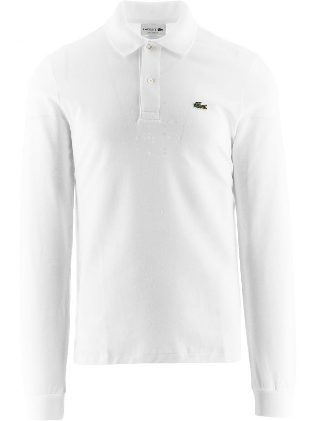 White Long-sleeve Classic Fit L1212 Polo Shirt