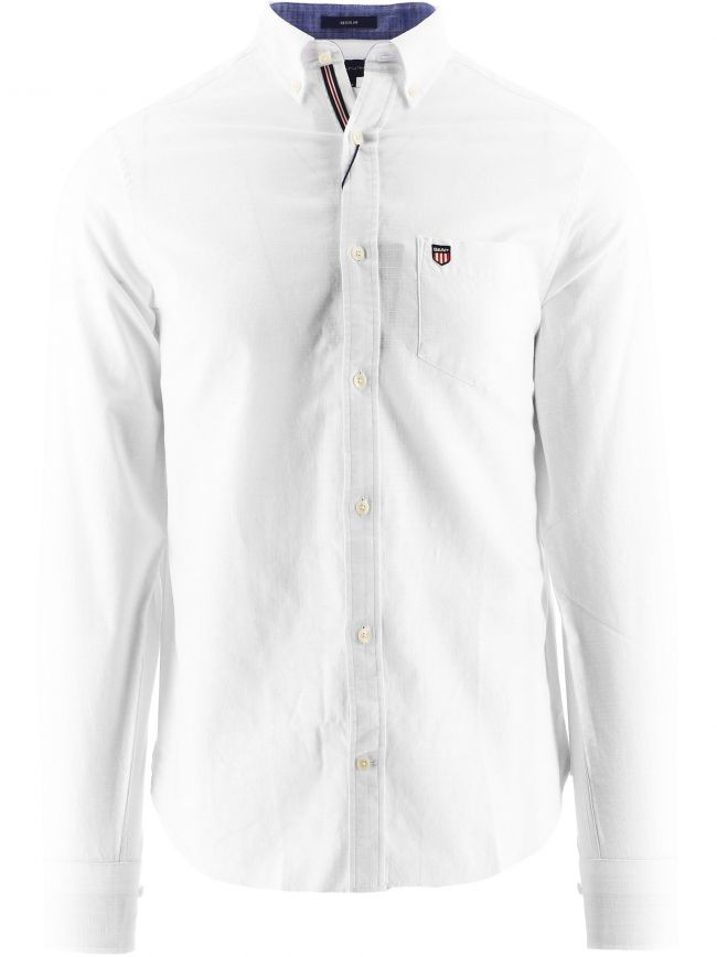 White Regular Fit Cotton Twill Shirt