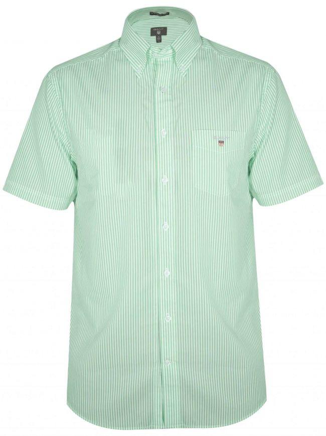 Pool Green Striped Regular Short-Sleeve Shirt