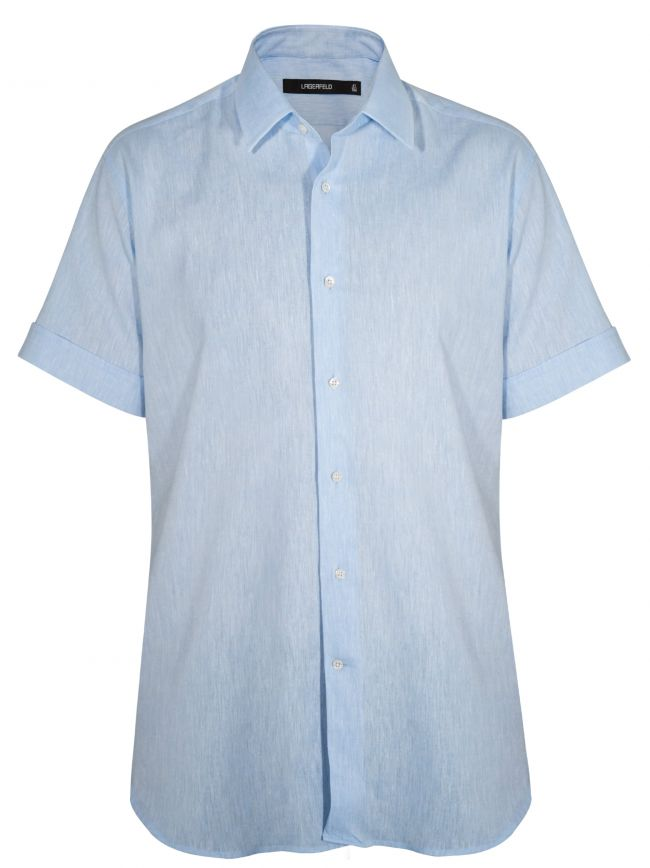 Blue Linen Short Sleeve Shirt