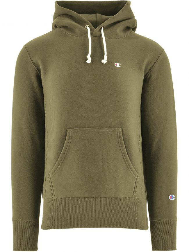 Khaki Reverse Weave Hooded Sweatshirt
