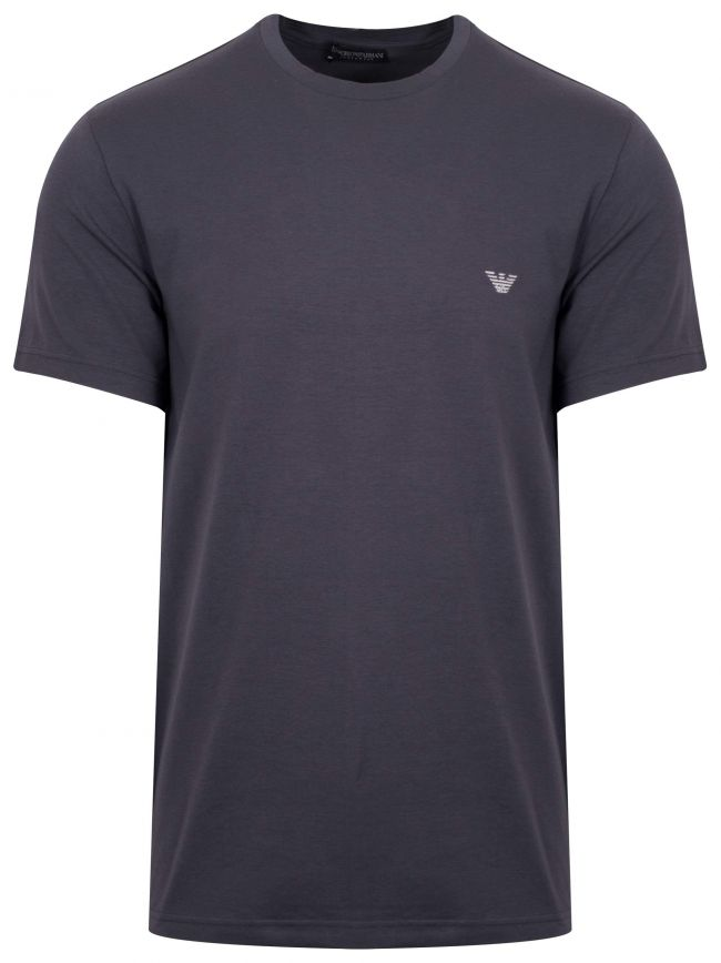 Grey Embroidered Logo Short-Sleeved T-Shirt
