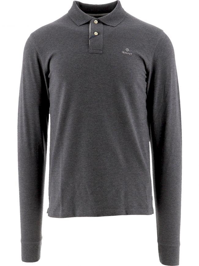 Grey Contrast Collar Pique Long Sleeve Rugger Polo Shirt
