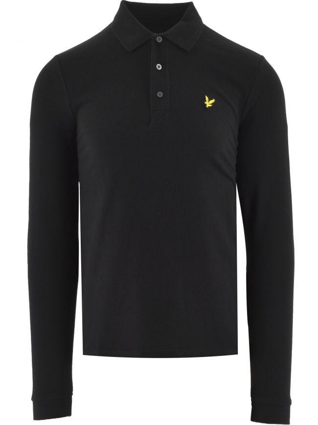Jet Black Long Sleeved Polo Shirt