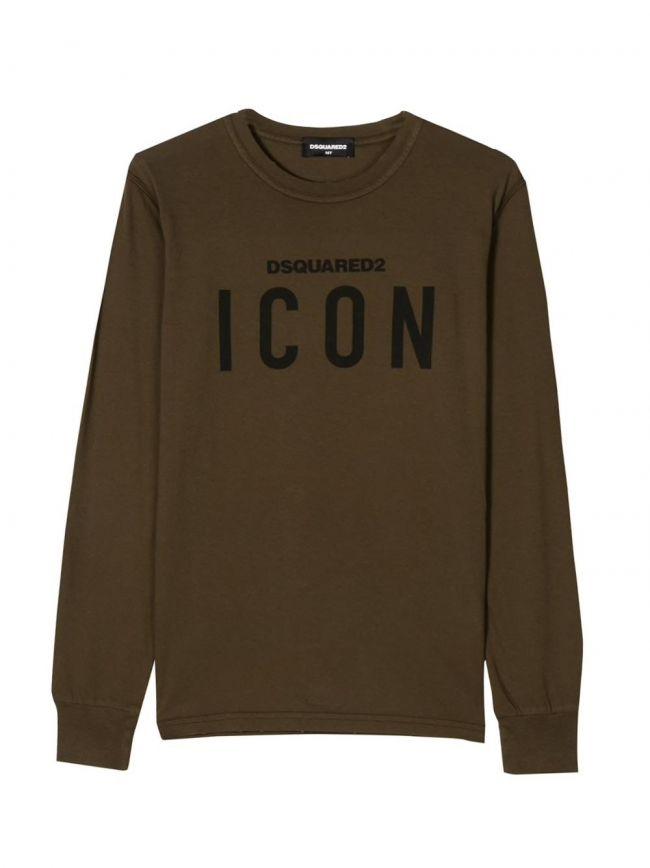 Khaki & Black ICON Logo Long-Sleeved T-Shirt