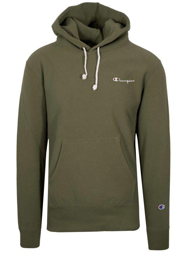 Reverse Weave Green Hooded Sweatshirt