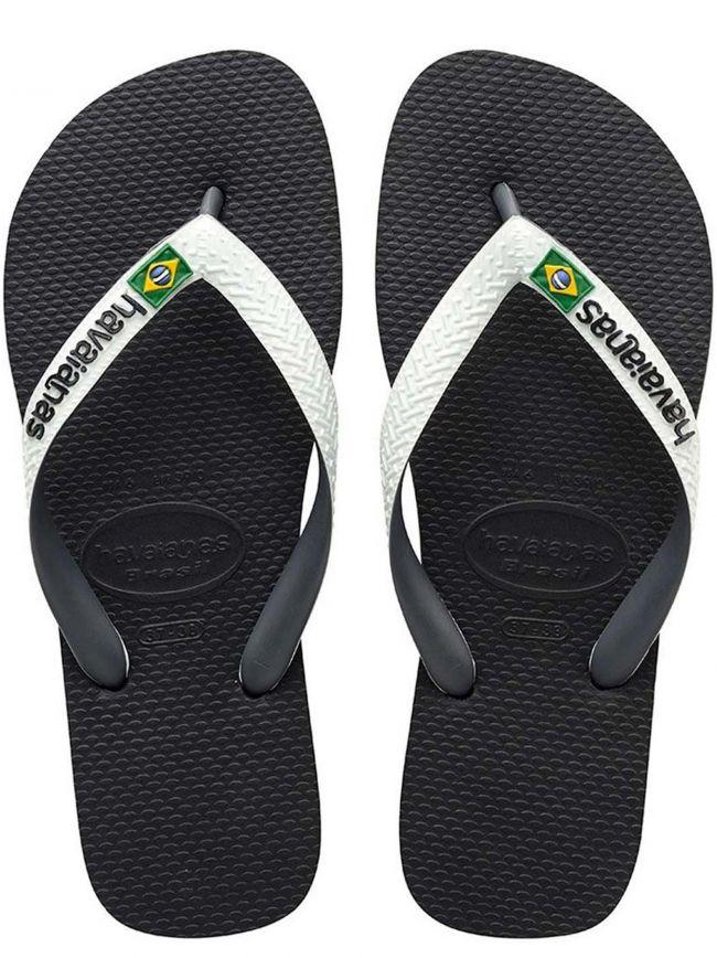 Black Brasil Mix Flip Flops